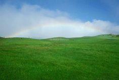 Hawaii. Big Island. Grassland and rainbow