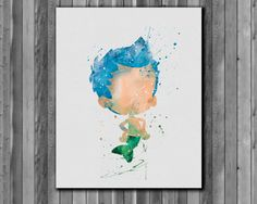 Bubble Guppies Gil poster  watercolor Art by digitalaquamarine