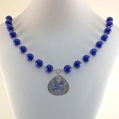 Blue Jade Necklace Etched Silver Teardrop and by CinLynnBoutique, $30.00