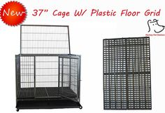New 37' Homey Pet Open Top Heavy Duty Dog Pet Cage Kennel w/ Tray, Floor Grid, and Casters (37' Plastic Grid) ** Tried it! Love it! Click the image. : Dog cages
