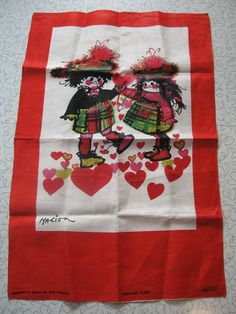 """Highland Fling"" Irish linen tea towel."