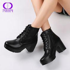 473b5c30c5 AIMEIGAO Platform Heels Women Ankle Boots Soft Leather Thick high Heel  Platform Boots Winter Autumn Boots