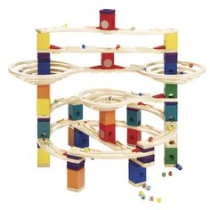 Quadrilla Marble Runs | Hape Toys | great for family play, but obviously requires supervision due to small pieces, such as marbles.