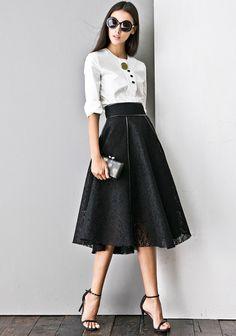 #AdoreWe Few Moda, Minimalistic Fashion Brands Online - Designer Few Moda Sing Me A Song Structured Skirt SK0060 - AdoreWe.com