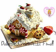 24,00 Collana Ginger House - Casetta di marzapane in fimo e cernit cookie biscotti