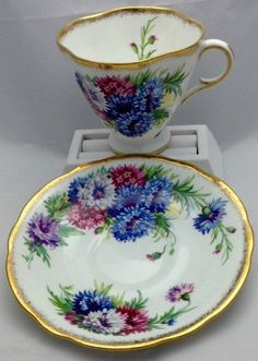 Bone China Vintage Tea Cup and Saucer Windsor Made in by Pastfinds
