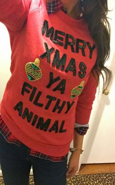 Ugly Christmas Sweater Ideas - Reasons To Skip The Housework Ya Filthy Animal Sweater: If you are attending an ugly Christmas sweater party this year, we have got you covered! Here are 25 Ugly Christmas Sweater Ideas for you to use as inspiration. Tacky Christmas Party, Diy Ugly Christmas Sweater, Xmas Sweaters, Christmas Outfits, Christmas Ideas, Christmas Time, Funny Christmas, Merry Christmas, Christmas 2017