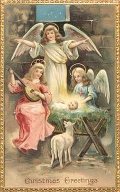 Unused embossed vintage Christmas postcard with winged angels above the baby Jesus in a manger. Christmas Greetings at the bottom. Catholic Christmas Cards, Christmas Nativity, Christmas Past, Christmas Quotes, Christmas Pictures, Christmas Angels, Christmas Greetings, Christmas Night, Christmas Concert
