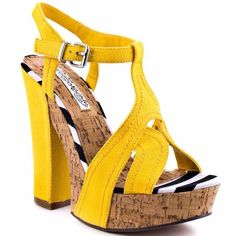 "Naughty Monkey Yellow Heels True to size only wore once for pics  5 1/2"" heel with 1 1/2"" platform naughty monkey  Shoes Heels"