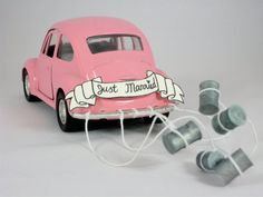 Las Vegas Luv Bug's personal favorite!!! Cake Topper/Decor 1955 Pink VW Beetle Getaway by WishUponAPress, $50.00