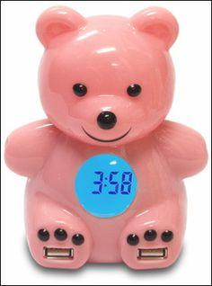 """Kawaii Candy Coloured """"USB Bear Hub"""" with Four USB 2.0 Port and Alarm Clock - GIGAZINE"""