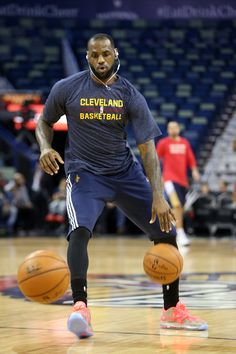 LeBron James #23 of the Cleveland Cavaliers warms up before playing the New Orleans Pelicans at Smoothie King Center on December 12, 2014 in New Orleans, Louisiana.