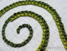 Chain Stitch used in Hand Embroidery - GREAT tutorial videos for almost every stitch.: