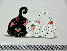 pintura de gatinhos preto e branco