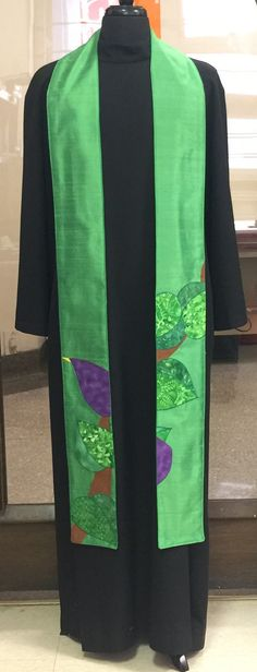 Custom green clergy stole in dupioni silk and cottons