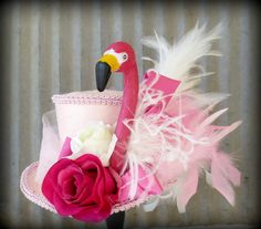 Pink Flamingo Mini Top Hat Mad Tea Party by Somethingfancydesign, $68.00