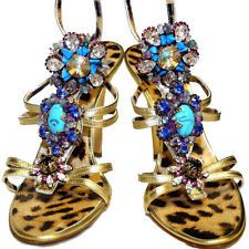 ROBERTO CAVALLI  GOLD Color  LEOPARD PRINT LEATHER  CRYSTAL JEWELRY SHOES