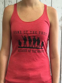Home of the Free- Tri-Blend Racerback Tank. Great shirt for a Memorial Day or July 4th party. Celebrates American pride and veterans. Home of the Free- Tri-Blend Racerback Tank