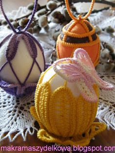 Makrama Szydełkowa - Romanian Point Lace eggs
