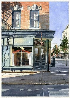 Harry Chong Laundry West Village NYC by Iain Stewart Watercolor