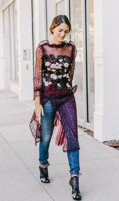 This is how you do a dress over jeans! (7 Standout Outfit Combinations Inspired by Street Style via @WhoWhatWear)