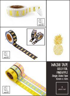 $11.8 for 5 | Washi Tape | Pineapple Gold Foil Series | 15mm x 10m | Mix Combo Value – R.atelier #PlannerLove #PlannerCommunity #PlannerAddicts #JournalLove #MaskingTape #GoldFoilWashi #PineappleWashi #WashiTape #Embellishment #DecorativeTape #AdhesiveTape #KawaiiTape
