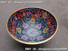 China Regius Copper handwork cloisonne Dragon Flowers bowl Statue