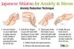 """Shiatsu for Anxiety.- """"Bodywork"""" is an alternative medicine technique that promotes relaxation through muscle and joint stimulation, breathing exercises and several massage techniques to instill a healing energy throughout the body. Shiatsu is a form of Japanese bodywork that is characterized by applying comfortable pressure using your fingers to knead, press, stretch and tap certain points on the body. This finger pressure has a particular effect on the connective tissue. Connective…"""