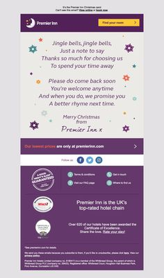 Nice sentiment at least from Premier Inn