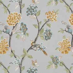 A totally stunning tree of life floral with beautiful oversized blooms and pretty birds. The colours are deep soft dove grey, blush pink, sage green, warm burn Pink Bedroom Decor, Pink Bedrooms, Bedroom Ideas, Grey Fabric, Floral Fabric, Orange Fabric, Shops, French Grey, Fabric Birds