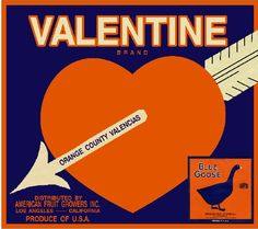 Los Angeles Valentine Valentine's Day 2 Orange Citrus Fruit Crate Box Label Art Print