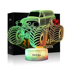 Amazon.com: YILIUBA Monster Truck LED Lamp 3D Visual Illusion 7 Colors Touch Switch Nightlight, for Home Office Children Room Theme Decoration and Kiddie Kids Children Family: Gateway Monster Truck Room, Monster Trucks, Star Wars Gifts, Night Lamps, Children And Family, Room Themes, Led Lamp, Night Light, Home Office