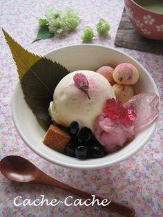 桜アイスを作って・・・桜パフェ♪