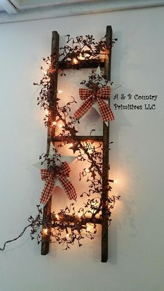 Decorated Country Ladder with Light Up Berry Garland and Primitive Stars, Country Primitive Home Decor, Customize - This handmade country-chic light-up ladder includes your choice of berry garland, interwoven with a - Primitive Stars, Primitive Homes, Primitive Crafts, Country Primitive, Primitive Bathrooms, Primitive Kitchen, Primitive Decorations, Primitive Stitchery, Kitchen Country