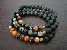 Men's Strength & Protection Mala Bracelet Stack - Sardonyx and Black Lava Stone - Yoga, Buddhist, Meditation, Prayer Beads, Jewelry