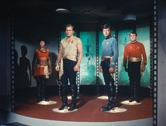 """In the 1967 episode """"Mirror, Mirror"""", a Transporter malfunction finds Lt. Uhura (Nichelle Nichols), Capt. Kirk (William Shatner), Dr. McCoy (DeForest Kelley), and Chief Engineer Scott (James Doohan) replaced by their doppelgangers from a cruel alternate universe. (CBS Consumer Products/Star Trek Archive)"""