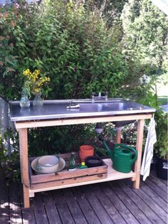 Outdoor Kitchen Sink, Small Outdoor Kitchens, Outdoor Sinks, Backyard Kitchen, Outdoor Rooms, Outdoor Living, Outdoor Decor, Open Shed, Diy Kitchen Cabinets
