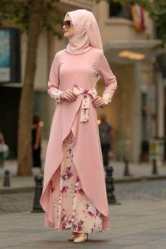 Women Floral Printed Long Sleeve Abaya Muslim Dress Without Hijab - Dress Honey Hijab Dress Party, Hijab Style Dress, Chic Dress, Abaya Style, Hijab Chic, Dress Casual, Islamic Fashion, Muslim Fashion, Abaya Fashion