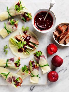 Duck Pancakes with Asian Plum Sauce Recipe | myfoodbook Mince Recipes, Meat Recipes For Dinner, Easy Family Dinners, Healthy Family Meals, Creamy Pasta Bake, Duck Pancakes, Beef Lasagne, Bbq Lamb, Plum Sauce