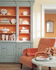 fabulous. Paris Grey and Barcelona Orange Annie Sloan Chalk Paint would do this