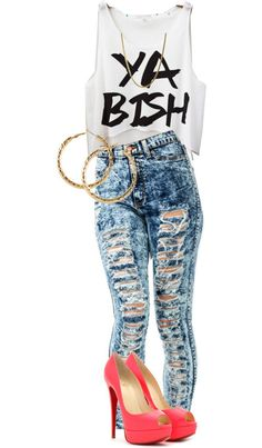 x-clusive-moni:  Ya Bishh by iammissweezybieber143 featuring shirt tops ❤ liked on PolyvoreShirt top / High waisted acid wash skinny jeans / Christian Louboutin neon platform heels / HM  jewelry, $9.12 / 14 karat gold necklace