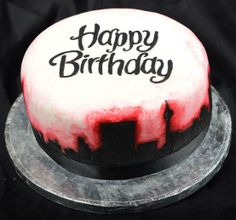 www.facebook.com/TheCakeArtists  hand painted cake of the Johannesburg city skyline #handpainted #happybirthday #cake