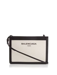 Navy Pochette cotton-canvas cross-body bag by Balenciaga | Shop now at #MATCHESFASHION.COM