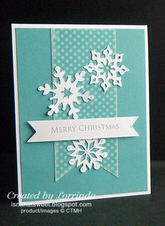 Easy card with three different snowflakes from my Cricut machine. My most pinned pin of all.