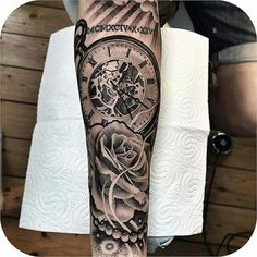 a look at some black and grey tattoos, rose tattoo, religious tattoos, greek statue tattoos, sleeve tattoos and skull tattoos. Pocket Watch Tattoo Design, Pocket Watch Tattoos, Trendy Tattoos, Tattoos For Guys, Cool Tattoos, Future Tattoos, Skull Tattoos, Sleeve Tattoos, Tatoos