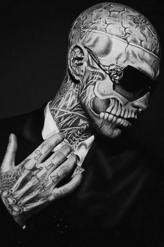 Rick Genest. Picked up off the streets to become a high fashion model. Cray.