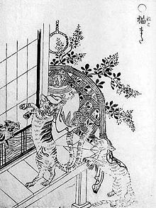 Nekomata (jap. 猫股 or 猫又; meaning 'forked cat') is the name of a fictitious being from japanese mythology. It is said to be a lower form of a bakeneko (a high ranged cat-demon).