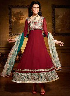 Exotic Maroon Viscose Resham Anarkali Suit