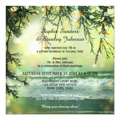 Destination Wedding Reception Cards Sparkling Beach Post or After Wedding Invitation