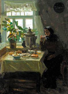 """Анатолий Волков (1908–1985) Из серии """"Тепло родного дома"""". 1955 г."""